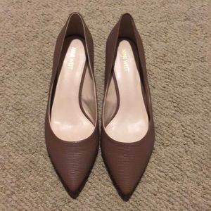 Tan Nine West pumps with small heel